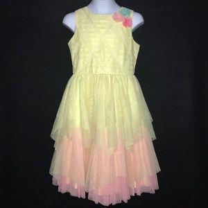 Jona Michelle Yellow Pink Spring Dress Girl's 12
